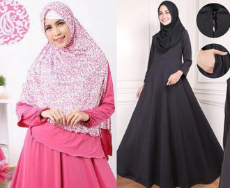 32 Model Gamis Jersey Polos Trendy