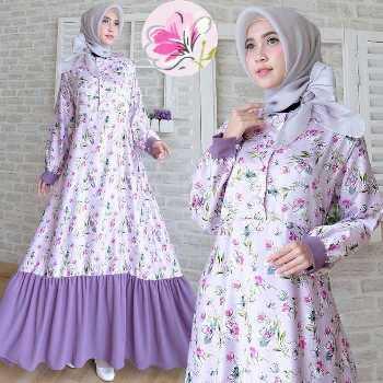 32 Model Baju Gamis Motif Bunga Modern 2020 Muda Co Id